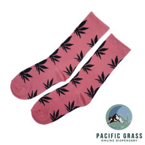 Pink and Black Cannabis Socks